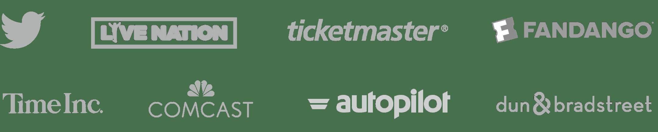 Twitter, LiveNation, TicketMaster, Fandango, Time Inc, Comcast, Autopilot, Dun ∓ Bradstreet