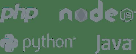 PHP, NodeJS, Python, Java